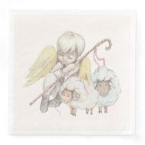 Angel Shepherd with Lambs Pastoral Paper Dinner Napkins