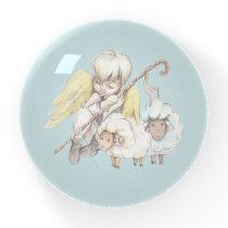 Angel Shepherd with Lambs Pastoral Paperweight