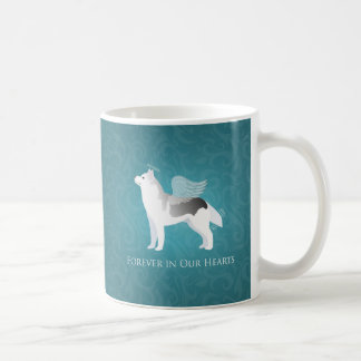 Angel Silver Siberian Husky Dog Pet Memorial Coffee Mug
