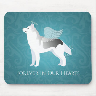 Angel Silver Siberian Husky Dog Pet Memorial Mouse Pad