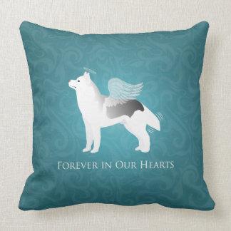 Angel Silver Siberian Husky Dog Pet Memorial Throw Pillow