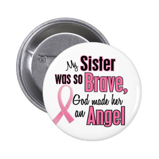 Angel SISTER Breast Cancer T-Shirts & Apparel Button