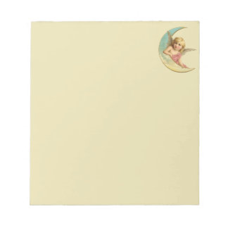 Angel sitting on a crescent moon vintage image notepad