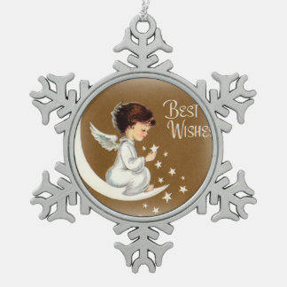 Angel Sitting on Crescent Moon Holding Star Snowflake Pewter Christmas Ornament
