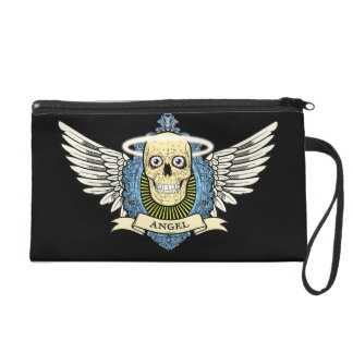 Angel Skull Skeleton with Halo with Bird Wings art Wristlets