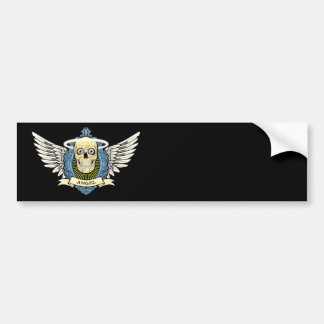 Angel Skull Skeleton with Halo with Bird Wings art Bumper Sticker