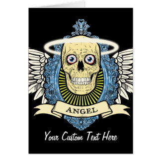 Angel Skull Skeleton with Halo with Bird Wings art Card