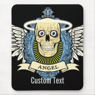 Angel Skull Skeleton with Halo with Bird Wings art Mouse Pad