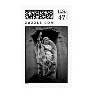 Angel slaying dragon statue postage stamp