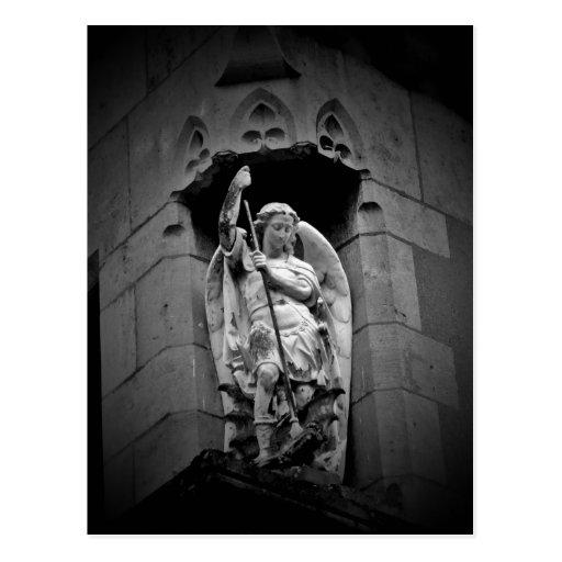 Angel slaying dragon statue postcard