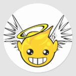 angel smiley face classic round sticker