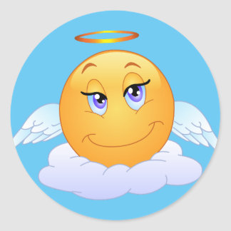Angel smiley on cloud classic round sticker