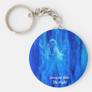 Angel Soaring Into The Light Basic Round Button Keychain