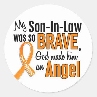Angel Son-In-Law Leukemia Classic Round Sticker
