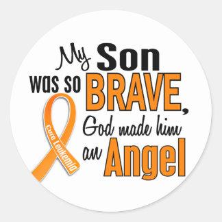 Angel Son Leukemia Classic Round Sticker