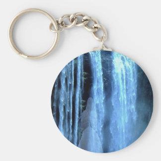 Angel standing in s waterfall keychain