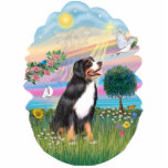 "Angel Star - Bernese Mountain Dog Cutout<br><div class=""desc"">A multi colored radiant pastel background with a shining sun,  a sailboat,  and a brilliant star shining down on a Bernese Mountain Dog make this a beautiful &quot;Rainbow Bridge&quot; memorial keepsake for you or a friend.</div>"