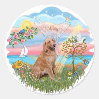 Angel Star - Golden Retriever #2 Classic Round Sticker