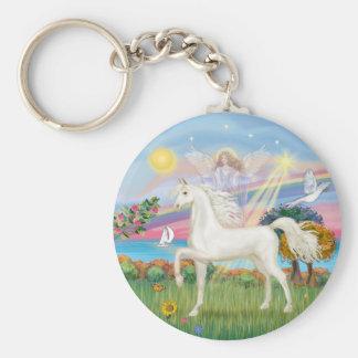 Angel Star - White Arabian Horse (round) Keychain