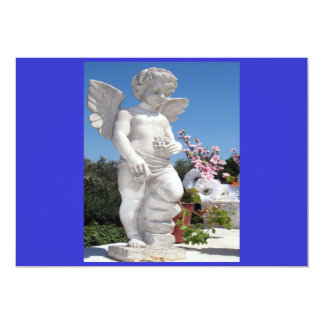 "Angel Statue In Blue And Grey I 5"" X 7"" Invitation Card"