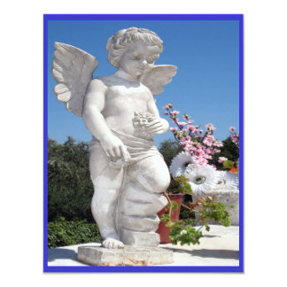 "Angel Statue In Blue And White III 4.25"" X 5.5"" Invitation Card"