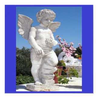 "Angel Statue In Blue And White V 5.25"" Square Invitation Card"