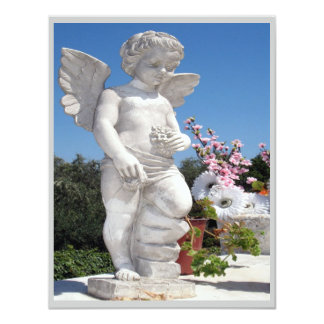 "Angel Statue In Grey And Blue III 4.25"" X 5.5"" Invitation Card"