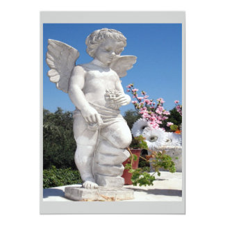 Angel Statue In Grey And White Card