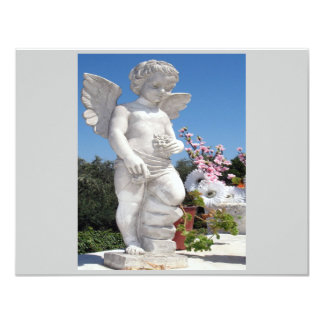 "Angel Statue In Grey And White II 4.25"" X 5.5"" Invitation Card"