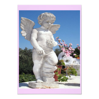 "Angel Statue In Pink 5"" X 7"" Invitation Card"