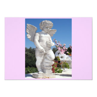 "Angel Statue In Pink And Grey 5"" X 7"" Invitation Card"
