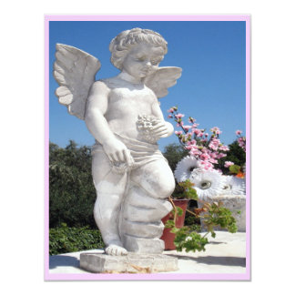 "Angel Statue In Pink And White III 4.25"" X 5.5"" Invitation Card"
