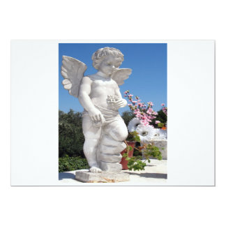 "Angel Statue in White And Grey 5"" X 7"" Invitation Card"