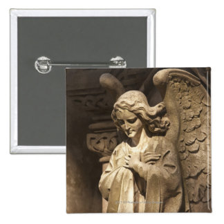 Angel Statue with Crossed Hands, Buenos Aires 2 Inch Square Button