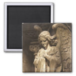 Angel Statue with Crossed Hands, Buenos Aires 2 Inch Square Magnet