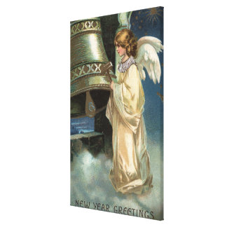 Angel Striking Bell with Mallet Canvas Print