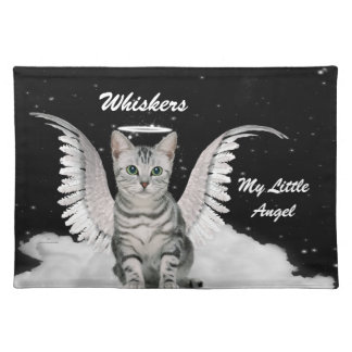 Angel Tabby Cat Personalized Pet Placemat Cloth Placemat