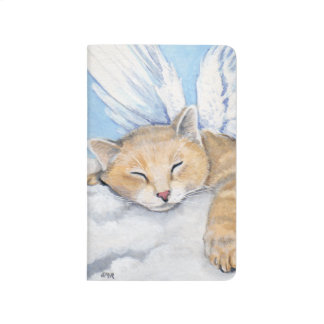 Angel Tabby Cat Sleeping on Clouds Painting Journal