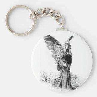 angel tattoo basic round button keychain