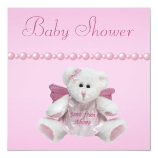 Angel Teddy, Baby Shoes & Pearls Baby Shower Card