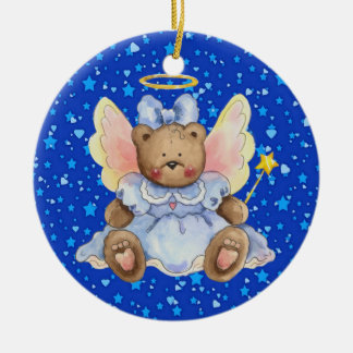 Angel Teddy Bear Double-Sided Ceramic Round Christmas Ornament