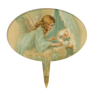Angel Tending a Baby in a Bassinet Cake Topper