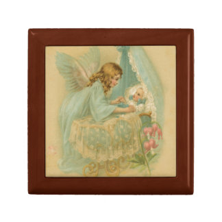 Angel Tending a Baby in a Bassinet Keepsake Box