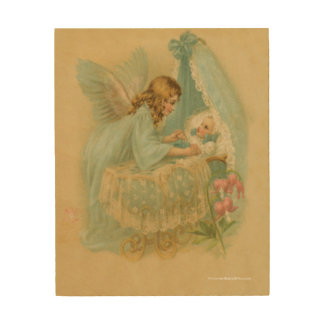 Angel Tending a Baby in a Bassinet Wood Print