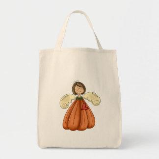 ángel trigueno de la calabaza bolsa tela para la compra