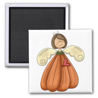 ángel trigueno de la calabaza imán cuadrado