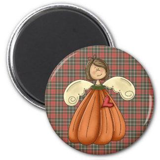 ángel trigueno de la calabaza imán redondo 5 cm