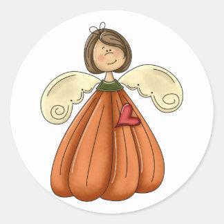 ángel trigueno de la calabaza pegatina redonda