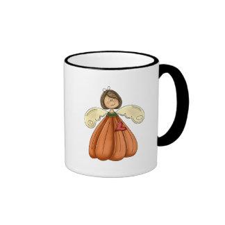 ángel trigueno de la calabaza taza a dos colores