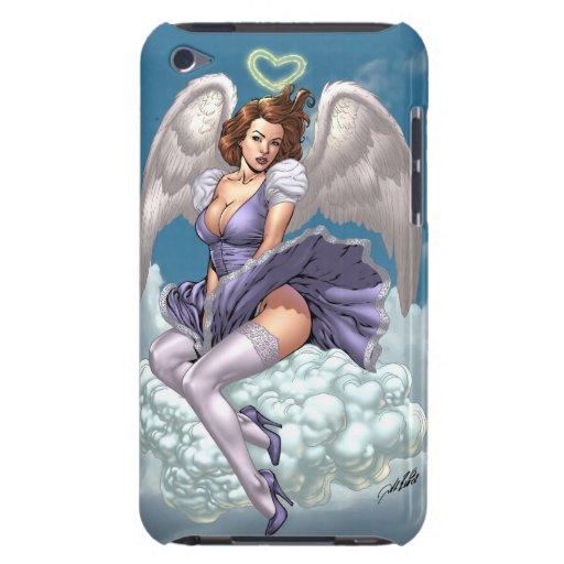 Ángel trigueno modelo con halo del corazón por el iPod touch Case-Mate funda